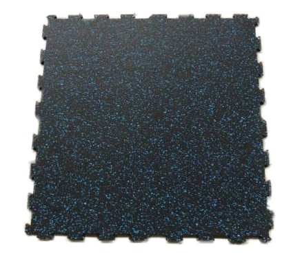 Piso para gimnasio interconectable negro con chispas azules medida 60x60 cm 6 mm